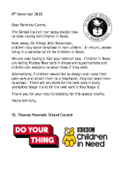 Children In Need Letter 2018