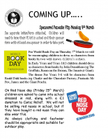 Letter Ref World Book Day and Red Nose Day 14th February 2019